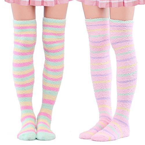 LittleForBig Süßes Tier Koralle Samt Oberschenkel/Knie-Lange Gestreifte Socken Kniestrümpfe 2 Paare