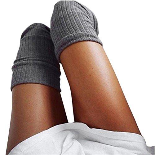 Mädchen Socken Rosennie Damen Oberschenkel hoch über dem Knie Socken langen Abschnitt Baumwolle Strümpfe warm Mode Elegant Frauen College Schenkel Gamaschen Boot Cosplay Kniestrümpfe (Dunkelgrau) (Streifen-schenkel-hohe Blickdicht Strümpfe)
