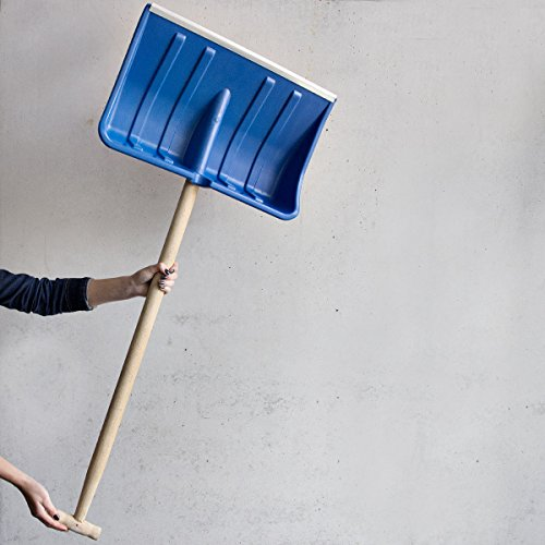 Galleria fotografica Pala da neve in plastica blu Impugnatura a T con manico in legno pala da neve