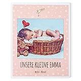 Gutschein für den Druck eines Baby Fotobuchs über Ihr Kind – 1. Monat Mädchen, Junge– 40 Seiten, Hardcover, 21,6 x 27 cm