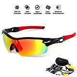 HONCENMAX Polarisierter Sport Sonnenbrille - mit 3 Wechselobjektiven -für Baseball Skifahren Golf Laufen Radsport Angeln Reiten Fahren mit Unzerbrechlich Rahmen