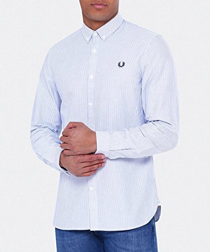 FRED PERRY L'homme M1523 chemise 139 OXFORD SHIRT PINSTRIPE Royal