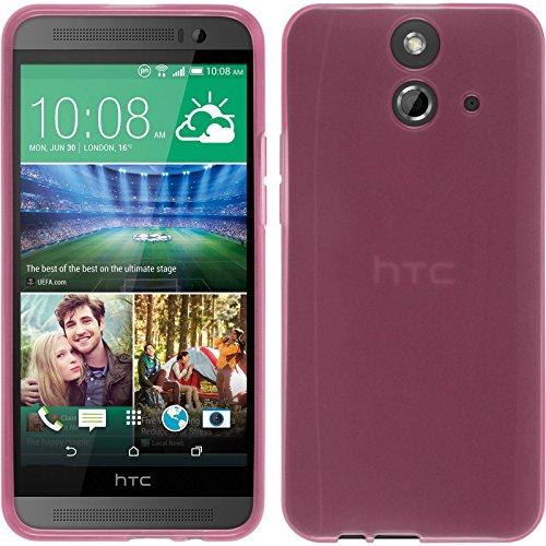 PhoneNatic Case kompatibel mit HTC One E8 - rosa Silikon Hülle transparent + 2 Schutzfolien