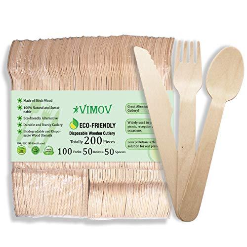 VIMOV 200 Pieza Cubiertos de Madera Desechables, Utensilios Biodegradables para Fiestas, Camping, Picnic, Barbacoa, Evento (100 Tenedores de Madera, 50 Cuchillos de Madera, 50 cucharas de Madera)