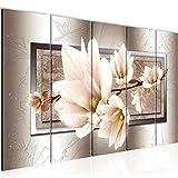 Bilder Blumen Magnolien Wandbild 150 x 60 cm Vlies - Leinwand Bild XXL Format Wandbilder Wohnzimmer Wohnung Deko Kunstdrucke Braun 5 Teilig - MADE IN GERMANY - Fertig zum Aufhängen 205756c