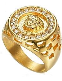 2bf394b9f8 ZNKVJ Uomo Religioso Placcato Oro Medusa Vintage Diamond Rings