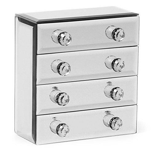 Beautify Porta gioielli a specchio con 4 cassetti e rivestimento morbido in tessuto incluso panno per la pulizia