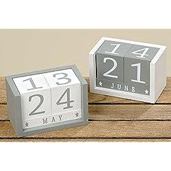 Calendario Jones Calendario de Dados de Madera, Blanco Gris, madera, 2431100 grau, 12*7*8cm