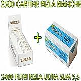 4800 Filtri OCB ULTRA SLIM RUVIDI EXTRA 5000 Cartine RIZLA BIANCHE CORTE WHITE
