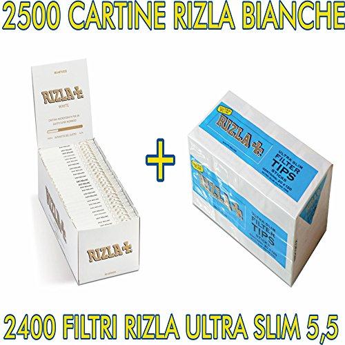 KIT 2500 CARTINE RIZLA BIANCHE CORTE + 2400 FILTRI RIZLA ULTRASLIM 5,5..