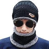 Schal Mütze Set, Wintermütze Strick Beanie Wollmütze Warme Skimütze Winter Hat Gefütterte Unisex (Schwarz)