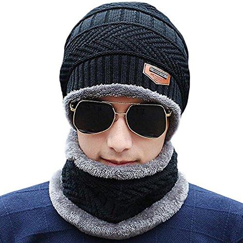 Schal Mütze Set, Wintermütze Strick Beanie Wollmütze Warme Skimütze Winter Hat Gefütterte Unisex - Männer Freie Für Gewicht-set