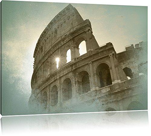 Kolosseum Rom Bild auf Leinwand, XXL riesige Bilder fertig gerahmt mit Keilrahmen, Kunstdruck auf Wandbild mit Rahmen, guenstiger als Gemaelde oder Bild, kein Poster oder Plakat, Format:100x70 cm