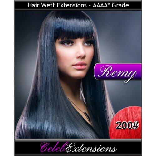 40,6 cm 200 # Fire Rouge Indiens 100% humains Remy Hair Extensions capillaires Cheveux. Tissage Silky droit 6 m Poids : 100 g AAAA de grande qualité. Qualité. Par celebextensions