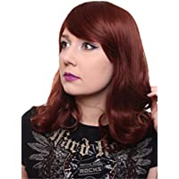 Prettyland C1412 - parrucca media lunghezza liscia con capelli leggermente  mossi naturale morbido - rosso castano 2309fb335ee4
