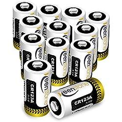 Keenstone 12 Piles Lithium CR123A, 3V 1600mAh Batterie Lithium Jetable, Haute Performance pour Lampe Torche Appareil numérique Jouets Microphone etc -(Lot de 12)