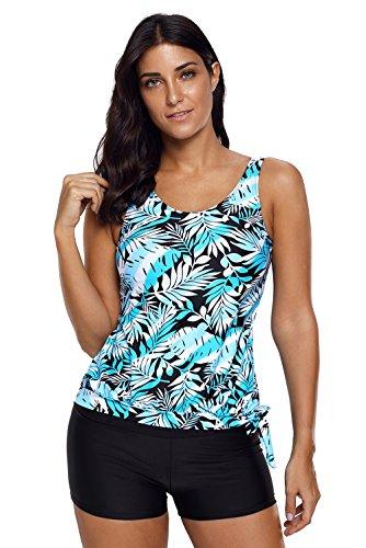 Frauen Tankini mit Gepolsterten Schwimmen Kostüm Plus Size Zweiteilige Bademode mit Bottom Swim Dress, Blau, XXXL (Deckung-nylon-tankini Volle)