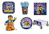 Party Store web by casa dolce casa Lego Movie - Juego de Mesa de Fiesta de Lego Movie - Kit n° 1 CDC (8 Platos, 8 Vasos, 20 servilletas, 1 Mantel, 1 Globo Foil y 1 supershape