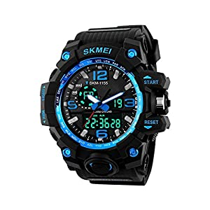 Skmei Analog-Digital Black Dial Men's Watch-1155-Blue