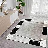 Teppich Kariert Retro Muster Meliert in Grau Weiß Schwarz Schlafzimmer Wohnzimmer 80x300 cm