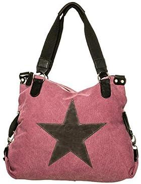 Damen Schultertasche Tasche mit Stern aus Canvas mit Leder Kombination extra lange Henkel für die Schulter Umhängetasche...