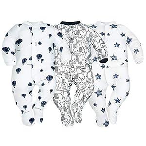 Sibinulo Niño Niña Pijama Bebé Pelele de ABS -Tamaños 80-92 - Pack de 3 3