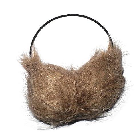 Damen warm winter ski & snow faux fur earmuffs / ear muff headband Grau