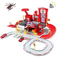Symiu Toys Car Garage Fire Engine Parking Lot Track with Diecast Helicopter Light Garage Alarm Vehicle Truck for Boys Girls Kids Children 3 4 5 6 Year Old