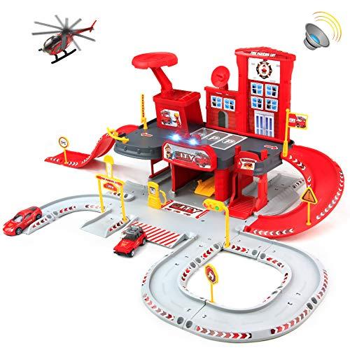 Symiu Parkhaus Parkgarage Kinder Feuerwehrauto Autogarage Spielzeug Feuerwehrstation mit Musik und Lichtern Feuerwehr Spielzeugauto für Kinder ab 3 4 5 6 Jahren