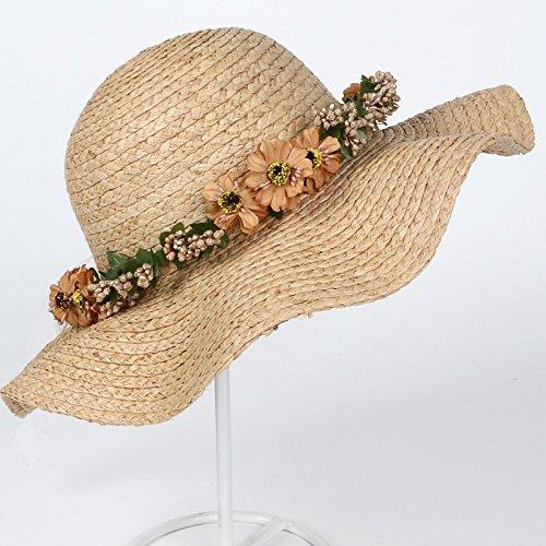 Guirlandes chapeaux tissés à la main chapeau de paille femme été plage tour coréen situé en bord de mer le vent Accessoires , guirlandes bleu B)