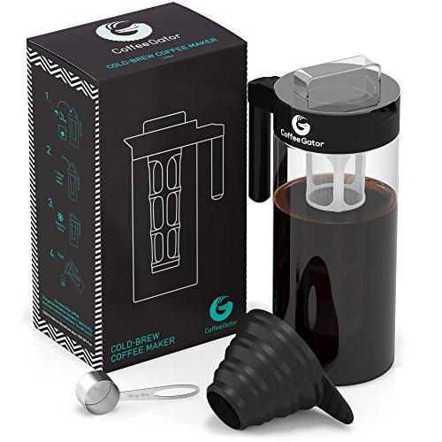 Coffee Gator Kaffeebereiter für Cold Brew Kaltwasser-Kaffeezubereiter bekömmlichen Kaffee-Kaltauszug herstellen | Ideal für Eiskaffee | Im Set mit Messlöffel und Klapptrichter