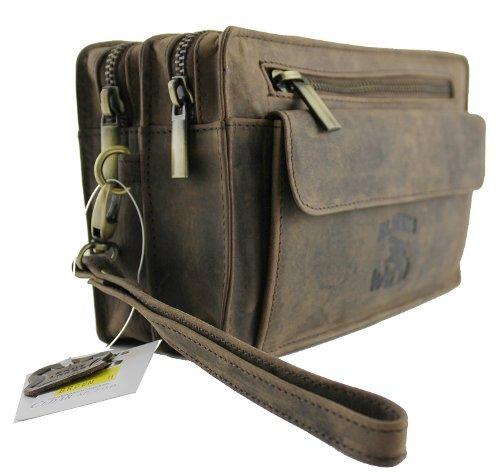 Handgelenktasche Tasche für Männer aus butterweichem Leder in Braun