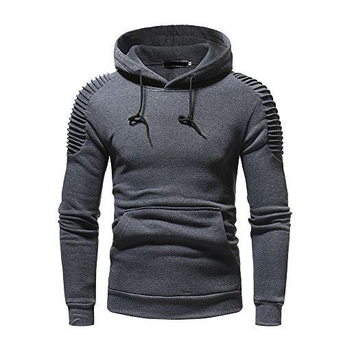LANSKIRT Herren Basic Kapuzenpullover Herbst Winter Langarm Pocket Patchwork Kapuzen-Sweatshirt Sweatjacke Outwear Tops