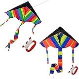 Foxom 2Pcs Arcobaleno Aquilone per Bambini e Adulti, Grande Aquilone e con 50m / 164 piedi Aquilone corda … immagine