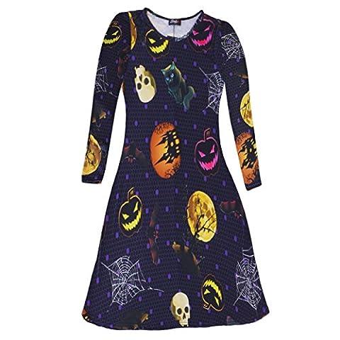Womens Ladies New Pumpkin Skull Web Smock Print Flared Fancy Costume Halloween Mini Swing Dress