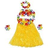 SODIAL(R) 6 Set hawaiano Grass Skirt flor Hula Lei Munequera Garland Disfraz - Amarillo