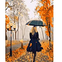 ZHAOSHOP Oil painting set by numbers Diy Umbrellas Rainy Day Boulevard Girl Painting By Numbers Interesting Drawing Game Scenary Children Picture Art Gift Home Decor Scenary-30cmx40cm Diy painting