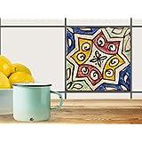 Fliesen aufkleben   Muster-Fliesenfolie Badezimmerfliesen Dekofolie Küchengestaltung   20x20 cm Muster Ornament Spanish Tile 6 - 1 Stück