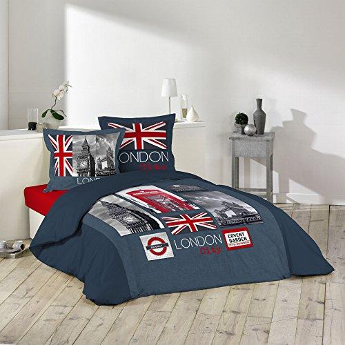 Douceur d 'Intérieur 1641618City London Juego con 2fundas de almohadas, algodón, 240x...