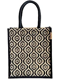 H&B Beautiful, Trendy & Stylish Jute Handbag / Black Designed Pattern / Quality Lunch Bag / Gift Bag / Jute Stylish...