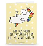 Mr. & Mrs. Panda Grußkarte Einhorn Cocktail - Einhorn, Einhörner, Unicorn, Party, Spaß, Feiern, Caipirinha, Rum, Cuba Libre, Sekt, Freundin, Geburtstag, lustig, witzig, Spruch, Glitzer Grusskarte, Klappkarte, Einladungskarte, Glückwunschkarte, Hochzeitskarte, Geburtstagskarte
