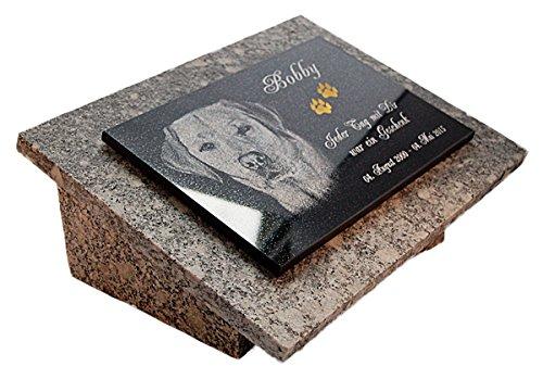 """GRANIT Grabstein, Grabplatte oder Grabschmuck mit dem Motiv """"Hund-gg16s"""" und Ihrem Foto/Text und Daten von LaserArt24"""