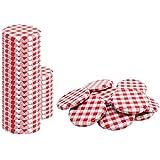 COM-FOUR 40x couvercle de rechange, rouge/blanc à carreaux, couvercle pour bocaux, pots de confiture, bocaux, To 82mm (040 pièces - damier rouge/blanc)