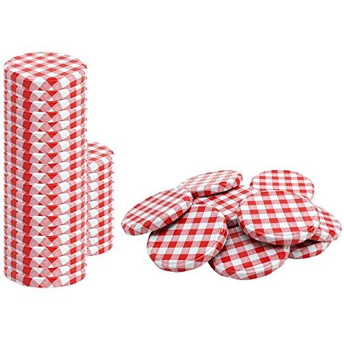 COM-FOUR® 40 x couvercle de rechange, rouge/blanc à carreaux, couvercle pour bocaux, pots de confiture, bocaux, To 82 mm (040 pièces - damier rouge/blanc)
