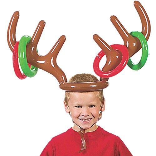 Jysport aufblasbarer Rentier-Hut mit Ringen, Ringwurfspiel für Weihnachtsfeiern, lustiges Spiel, Spaß für die ganze Familie