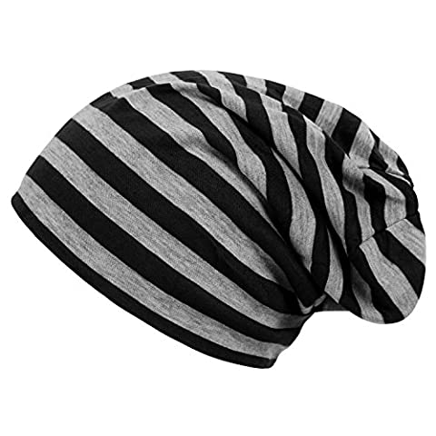 DJT Unisex Men Women Striped Printed Baggy Fit Casual Slouchy Beanie Cap Hat Black One Size
