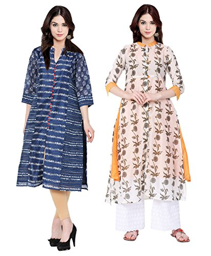 IndiStar Chanderi Silk Casual Kurta/Kurtis Combo for Women(Pack of 2) Color-Multicolor_Size-Large_CH 2231-IW-P2-L