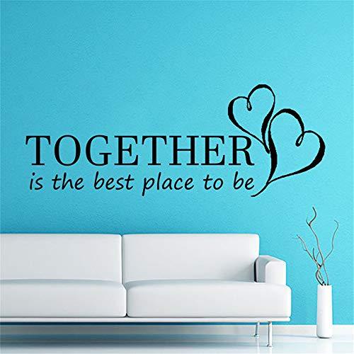 yiyiyaya Zusammen ist der Beste Ort um zu zitieren Wandaufkleber Herzen Wohnkultur Kunst romantische Wandtattoos Wandbilder Schlafzimmer Dekoration lila 59x21cm