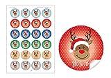 24 Weihnachtsaufkleber bunt gemischte Farben zu Weihnachten mit lustigem Rudolph Rentier Hirsch