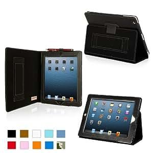 Snugg iPad 4 Hülle (schwarz) - Smart Cover mit Aufsteller, elastischer Handschlaufe, Stylus-Halterung und Premium Nubuck Innenfutter